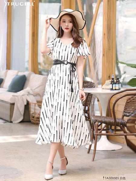 楚阁女装品牌2019春夏短袖潮流气质收腰复古?#21672;?#26102;尚洋气长裙