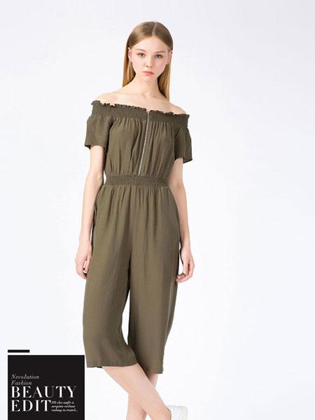 蒂蒂卡娜女装品牌2019春夏新品收腰V领短袖桑蚕丝连体裤
