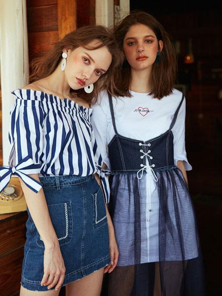 SR女装品牌2019春夏新款韩版牛仔网纱吊带连衣裙修身中长款连衣裙两件套