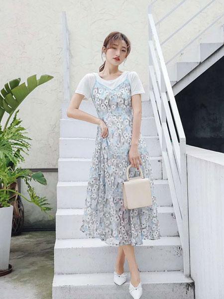 M+女装品牌2019春夏新款桔梗裙超仙吊带裙气质淑女两件套