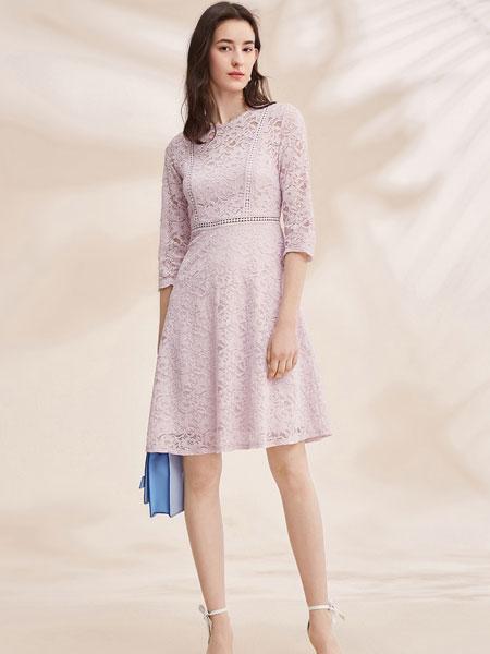 春美多信誉最好的彩票网平安彩票网2019春夏新款紫色七分袖a字连衣裙镂空蕾丝修身裙子
