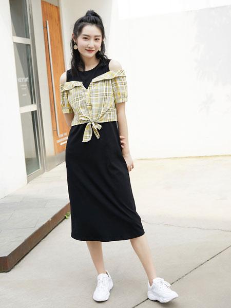 果一果女孩女装品牌2019春夏新款宽松韩版休闲短袖衬衫两件套