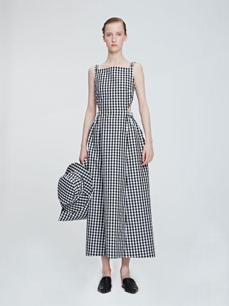 VEGAZAISHIWANG女装品牌2019春夏新款露背格纹吊带连衣裙