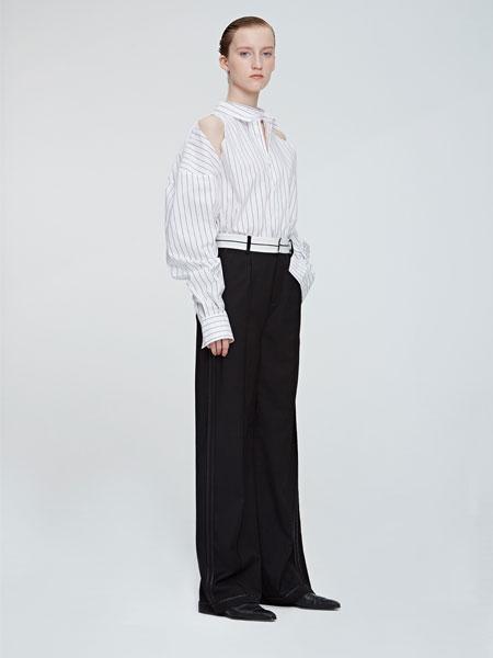 VEGAZAISHIWANG女装品牌2019春夏新款挖剪廓形条纹衬衫