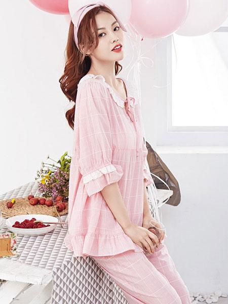牧柔内衣品牌2019春夏新款韩版甜美可爱宽松家居服套装