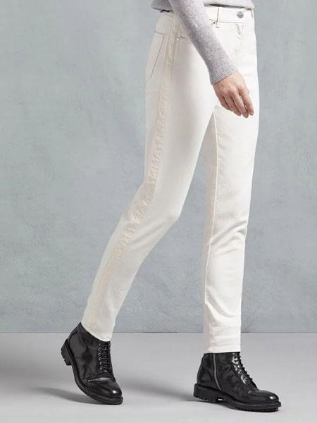 Belstaff贝达弗女装品牌2019春夏新款白色超高弹力时尚显瘦显高小脚长裤九分裤