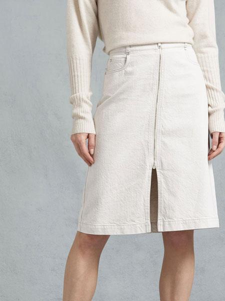 Belstaff贝达弗女装品牌2019春夏新款白色棉弹力牛仔包臀裙修身中长半身裙