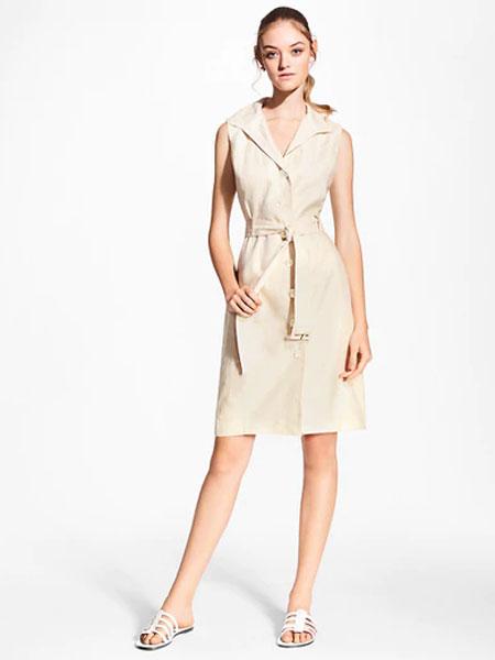 Black Fleece女装品牌2019春夏新款长款翻领系带马甲连衣裙