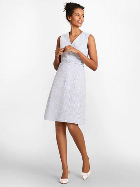 Black Fleece女装品牌2019春夏新款韩版透视气质V领无袖褶皱仙女裙连衣裙
