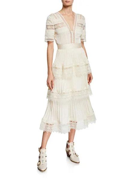 Bergdorf Goodman波道夫·古德曼女装品牌2019春夏新款香槟色深V领长款仙女蛋糕连衣裙
