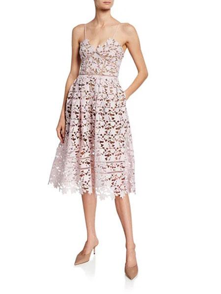 Bergdorf Goodman波道夫·古德曼女装品牌2019春夏新款性感时尚蕾丝吊带连衣裙