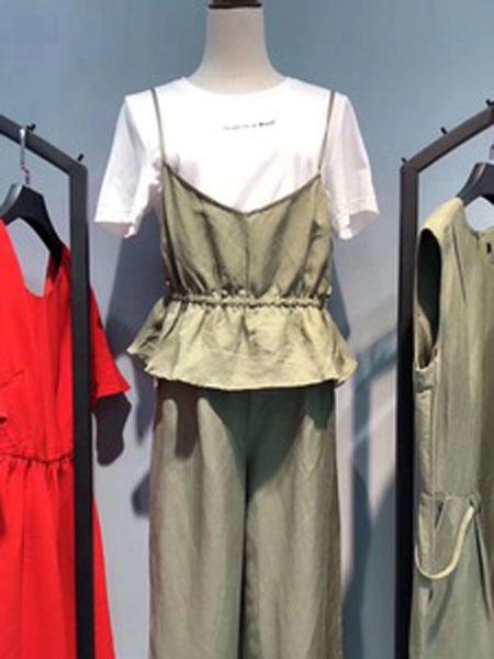 辰雨夕女装品牌2019春夏新款复古文艺纯棉吊带两件套上衣百搭显瘦宽松套装