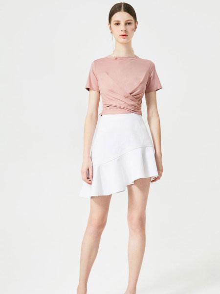 百袖女装品牌2019春夏新款粉色腰间交叉设计收腰显瘦短袖T恤女短款打底衫上衣