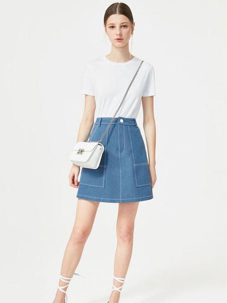 百袖女装品牌2019春夏新款日系百搭休闲短款牛仔半身裙