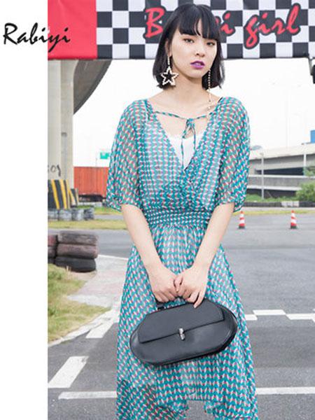 洛呗一女装品牌2019春夏装新款印花V领通勤连衣裙