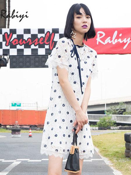 洛呗一女装品牌2019春夏新款短袖蕾丝假两件连衣裙