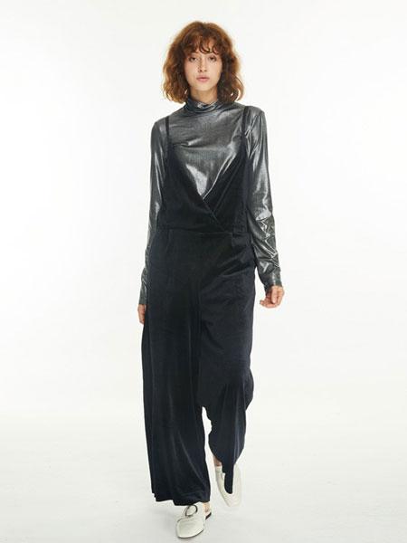 BearTwo女装品牌2019春夏新款丝绒吊带高腰阔腿长裤
