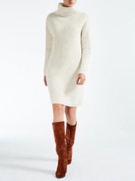 玛丝图女装品牌新款韩版宽松毛衣裙过膝针织打底衫