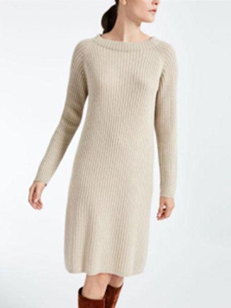 玛丝图女装品牌新款半高领毛衣女中长款宽松纯色不规则长袖打底裙