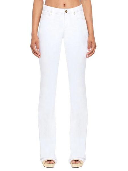 罗伯特・卡沃利女装品牌2019春夏新款中腰修身直筒白色牛仔裤