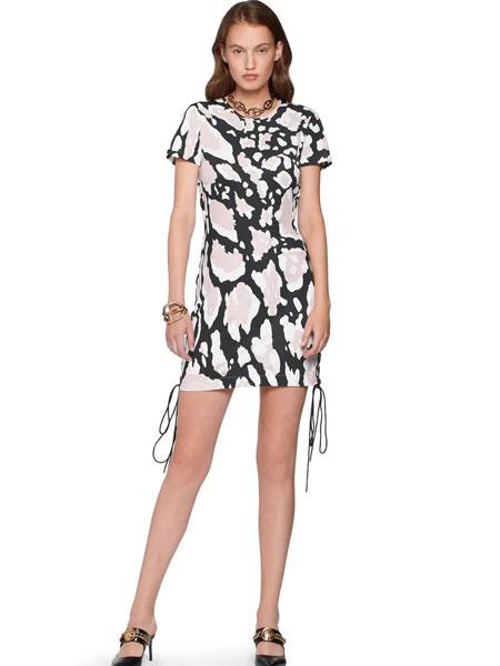 罗伯特・卡沃利女装品牌2019春夏新款短袖包臀连衣裙铅笔裙气质碎花名媛