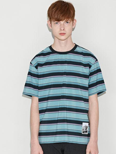 customellow男装品牌2019春夏新款时尚休闲百搭宽松条纹短袖T恤