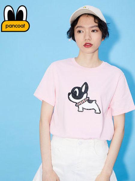 盼酷休闲品牌2019春夏新款时尚潮牌女士卡通小狗狗休闲短袖针织衫