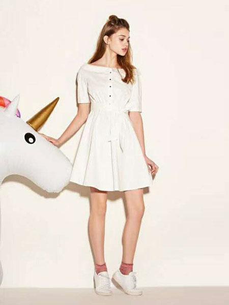 """提图斯""""(TITSOO)女装品牌2019春夏新款时尚淑女白色腰间系带气质女神短袖连衣裙"""