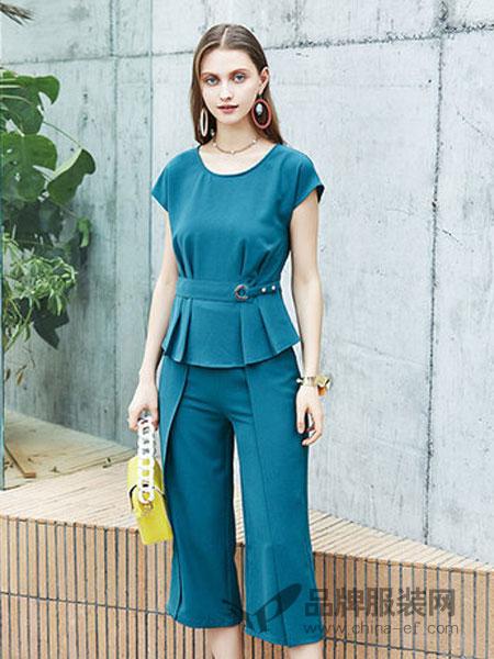 蔓润秀女装品牌2019春夏时尚个性气质阔腿裤两件套潮