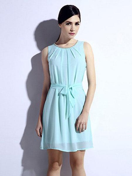 恩硕 ENSHUO女装品牌2019春夏新款气质性感轻熟长裙休闲显瘦圆领连衣裙