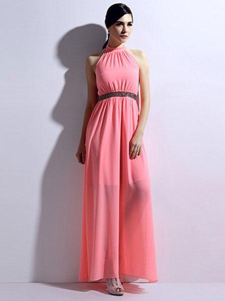 恩硕 ENSHUO女装品牌2019春夏新款英伦风挂脖长裙连衣裙