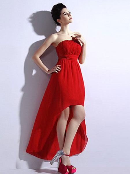恩硕 ENSHUO女装品牌2019春夏新款韩版新娘敬酒服雪纺长款抹胸伴娘晚礼服
