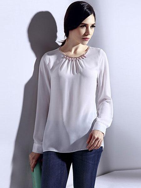 恩硕 ENSHUO女装品牌2019春夏新款韩版名媛钉珠长袖修身宽松雪纺衬衫
