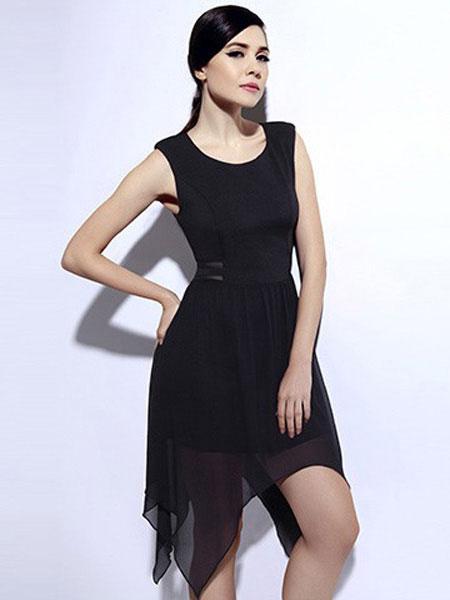 恩硕 ENSHUO女装品牌2019春夏新款很仙的韩版收腰修身中长款短袖a裙子