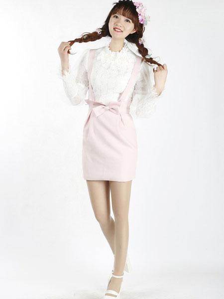 裳舍女装品牌2019春夏新款时尚修身显瘦背带裙套装