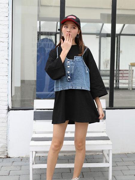 星期四女装品牌2019春夏新款中长款韩版牛仔吊带两件套