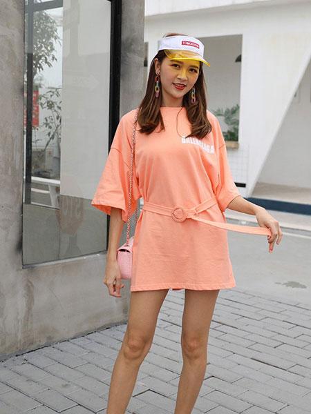 星期四女装品牌2019春夏新款韩版宽松系腰带不规则短袖T恤裙