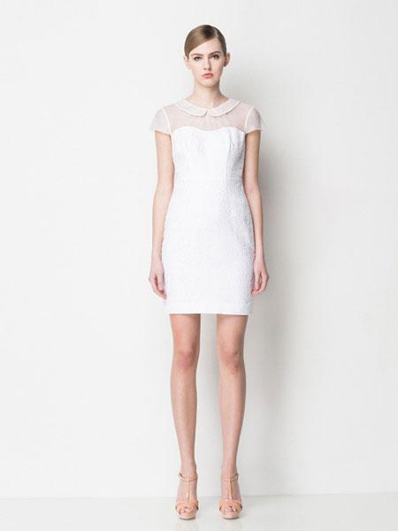 怡琇服饰女装品牌2019春夏新款白色娃娃领透明抹胸连衣裙