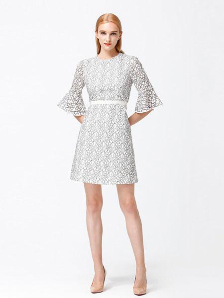 怡琇服饰女装品牌2019春夏新款荷叶袖收腰显瘦连衣裙