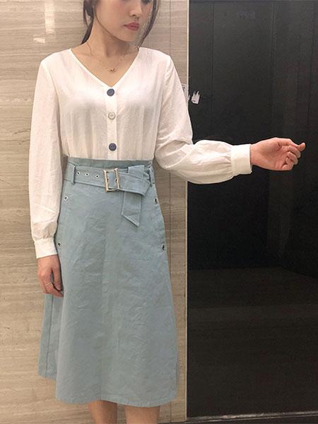 韩尚菲女装品牌2019春季新款修身中长款假两件套A字连衣裙学生休闲半身裙韩版