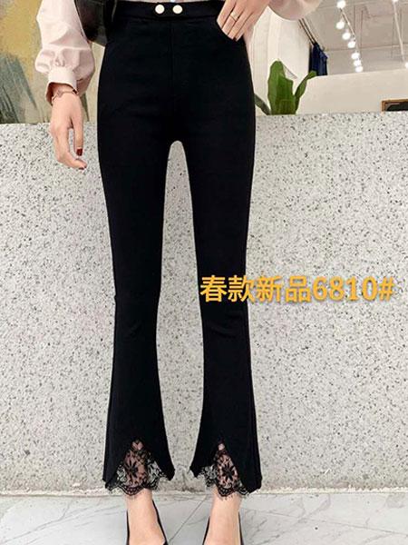 韩尚菲女装品牌2019春季新款蕾丝花边拼接喇叭裤女chic不规则黑色高腰九分休闲裤