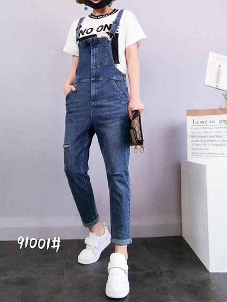 韩尚菲女装品牌2019春季新款减龄显高显瘦紧身修身高腰弹力背带牛仔裤