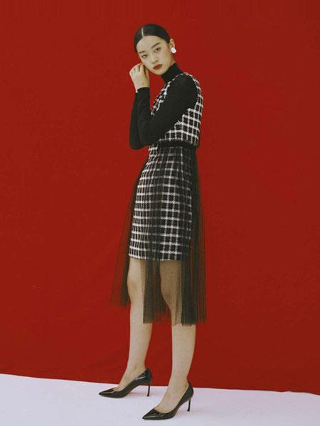 DooBo女装品牌2019春季新款中长款时尚束腰修身韩版格子雪纺宽松连衣裙