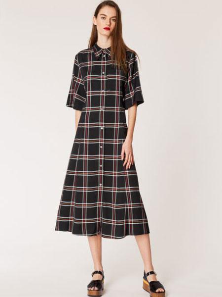 保罗·史密斯女装品牌2019春夏新款短袖雪纺气质束腰格子连衣裙长裙