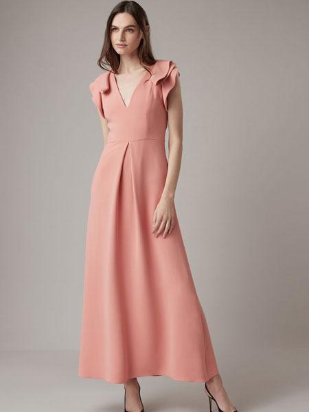 Emporio Armani安普里奥·阿玛尼女装品牌2019春夏新款欧美时尚性感V领无袖荷叶边收腰中长A摆连衣裙