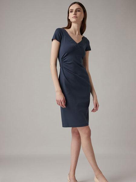 Emporio Armani安普里奥·阿玛尼女装品牌2019春夏新款时尚优雅气质v领连衣裙
