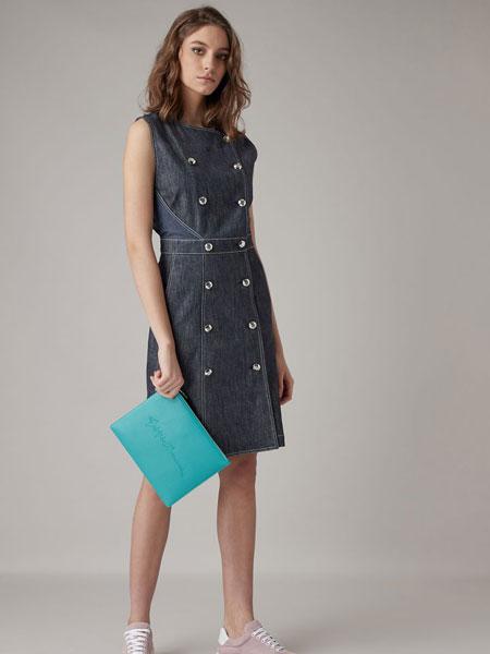 Emporio Armani安普里奥·阿玛尼女装品牌2019春夏新款时尚气质收腰无袖牛仔连衣裙