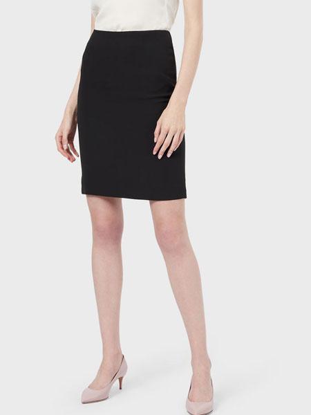 Emporio Armani安普里奥·阿玛尼女装品牌2019春夏新款黑色半身裙高腰中长款通勤职业包臀裙显瘦一步裙
