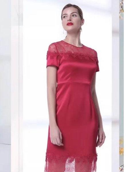 安泽雨女装品牌2019春夏新款气质复古修身短袖连衣裙中长裙女裙子