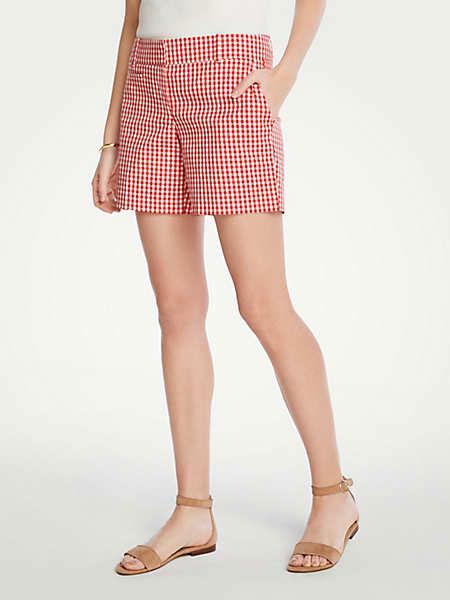 Ann Taylor安·泰勒女装品牌2019春夏新款糖果色格子休闲宽松高腰ins风短裤
